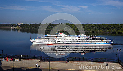 The cruise ship on the river
