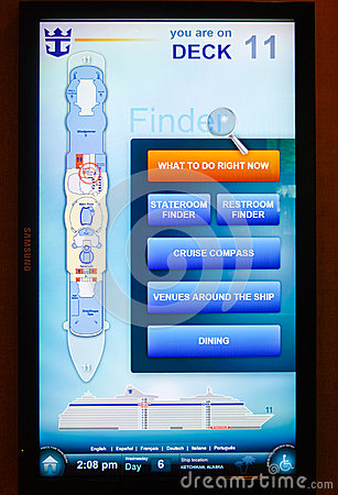 Cruise Ship Royal Caribbean Touch Screen Map Editorial Photo