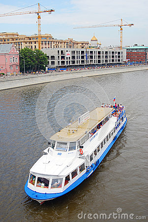 Cruise ship sail on the Moscow river Editorial Photo