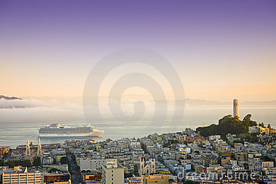 Cruise ship at San Francisco on sunrise