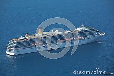 Cruise ship is Santorini, Greece Editorial Photo