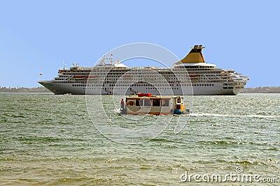 Cruise ship on Sicilian Sea