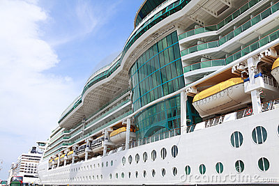 Cruise ship side closeup