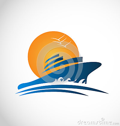 Free Cruise Ship Sun And Waves Logo Royalty Free Stock Images - 41064419