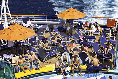 Cruise Ship Sun Bathing and Tanning Editorial Stock Image