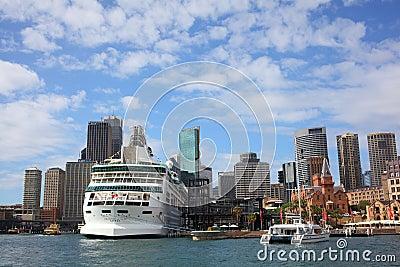 Docked cruise ship in Sydney skyline Editorial Photography