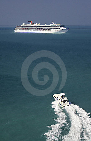 Cruise Ship and Tender Boat in Belize Editorial Stock Image