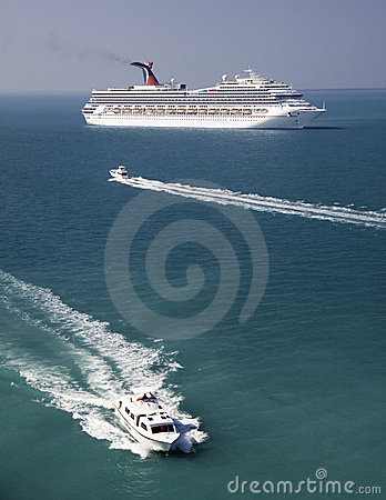 Cruise Ship and Tender Boats in Belize Editorial Photography