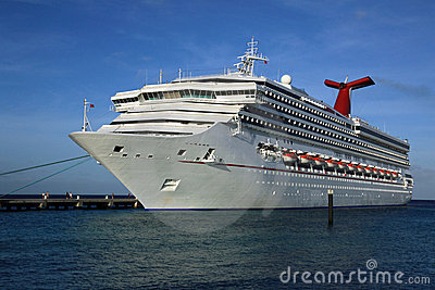 Cruise ship in tropical island port