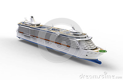 Cruise ship on white