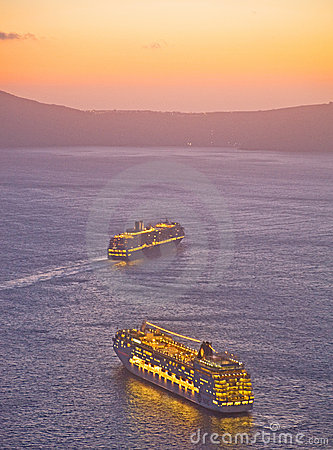 Cruise ships off the island of Santorini. Editorial Image