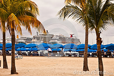 Cruise Ships in Philipsburg, St. Maarten Editorial Stock Photo
