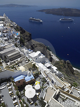 Cruise Ships in Santorini - Greece