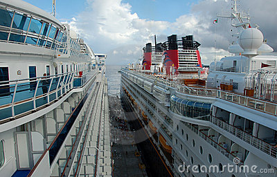 Cruise ships side to side Editorial Stock Photo