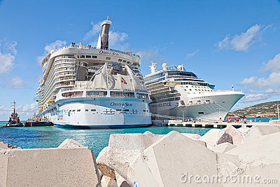 Cruise Ships in St. Maarten Editorial Photo