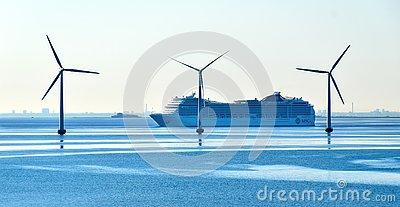 Cruise sip MSC Magnifica of MSC Cruises passes offshore wind turbines Editorial Stock Photo