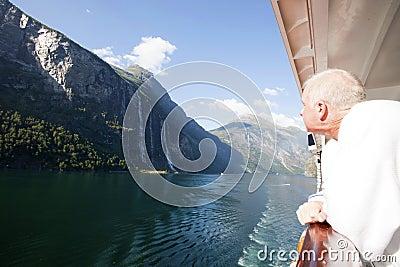 Cruiser Admiring Seven Sisters Falls in Geiranger