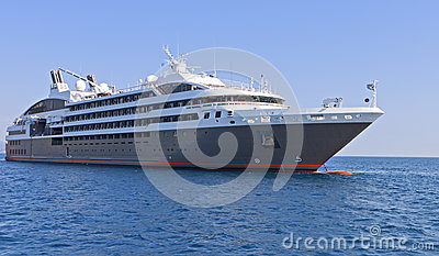 Cruiser in the Ionian sea in Greece