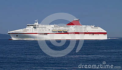 Cruiser sailing in the Ionian sea