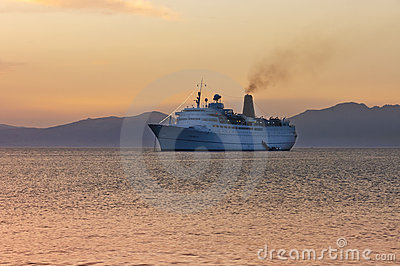Cruiser ship sailing on Aegean sea Editorial Stock Image