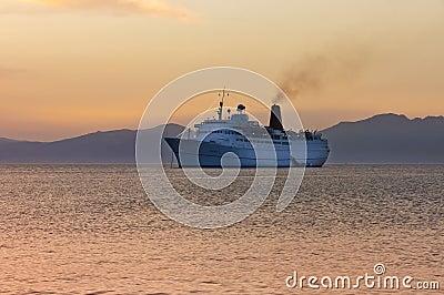 Cruiser ship sailing on Aegean sea Editorial Stock Image
