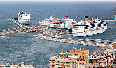 Cruisers in the harbor of Malaga, Spain