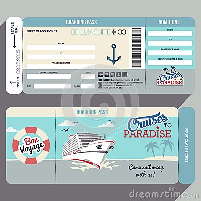Free Cruises To Paradise Boarding Pass Design Stock Images - 50951924