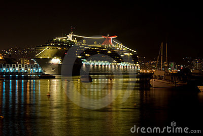 Cruiseship Reflecting at Night