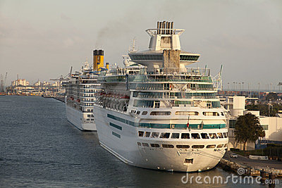 Cruiseships in Maimi Port Editorial Image