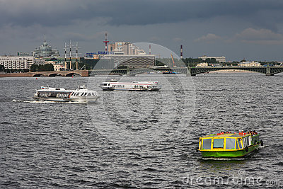 Cruising on the Neva River Editorial Image