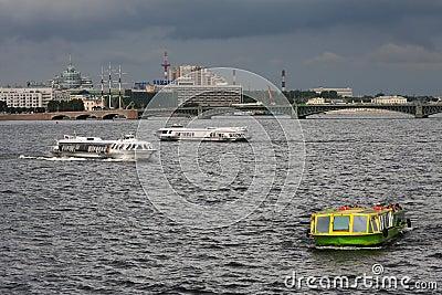 Cruising on the Neva River Editorial Image