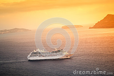 Cruising ship sunset