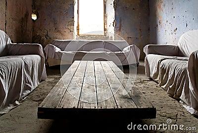 Crumbling living room