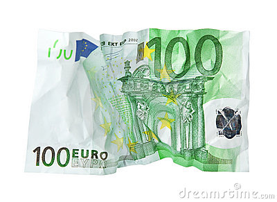 Crumpled banknote.