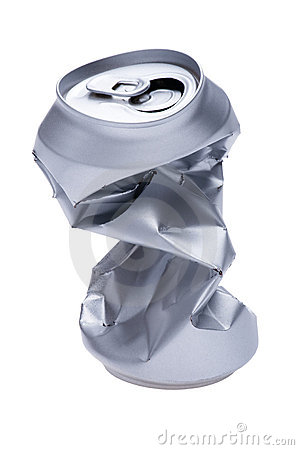 Crumpled beverage can on white