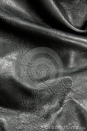 Crumpled black leather texture