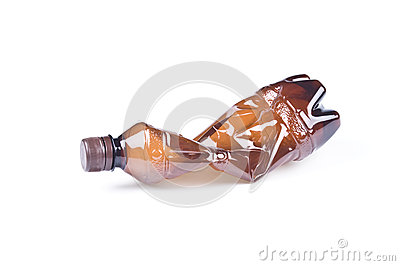 Crumpled Brown Plastic Bottle