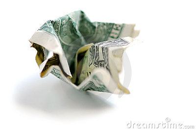 Crumpled dollar bill