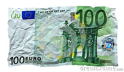 Crumpled 100 euro banknote