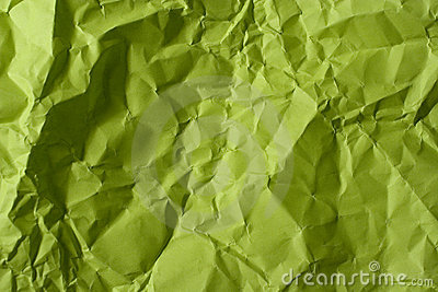 Crumpled green paper