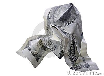 Crumpled monetary denomination