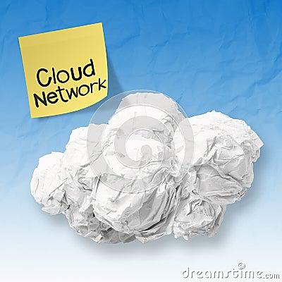 Crumpled paper Cloud Computing