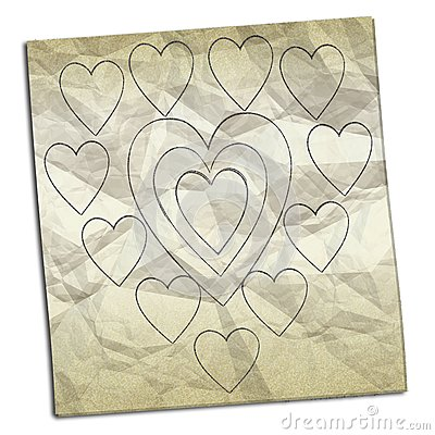 Crumpled paper with drawings of hearts