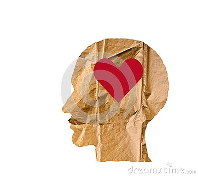 Free Crumpled Paper Shaped As A Human Head And Heart On White. Stock Photos - 99751483
