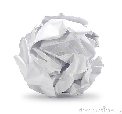 Crumpled sheet  of paper in ball shape can be recycle.