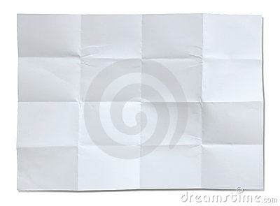 Crumpled white paper isolated