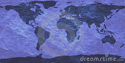 Crumpled world map