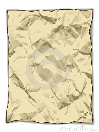 Crumpled yellowed paper