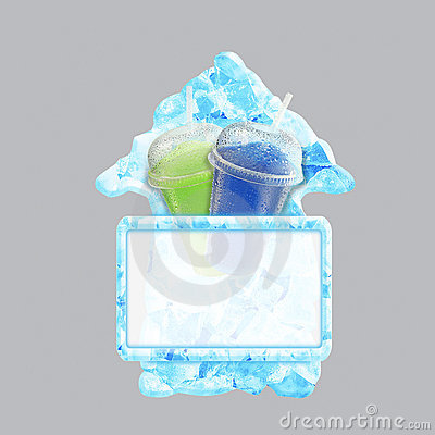Crushed ice fruit refreshment arrow banner