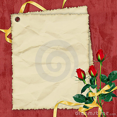 Crushed paper with roses on the red background